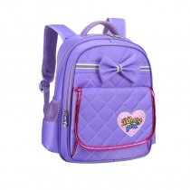 Personalized Purple Nylon Cute Bow Quilted Flap Campus Backpack Lightweight Sewing Pattern with Heart Girls Preppy School Book Bag