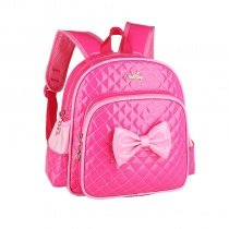 Rose Red Patent Leather with Pink Bow Quilted Girls School Backpack Modern Chic Sewing Pattern Sequin Pupil Preppy Campus Book Bag