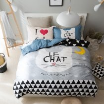 Kidsline Black White Yellow and Light Gray Animal Cat and Chevron Stripe Print Hipster Style 100% Cotton Twin, Full Size Bedding Sets