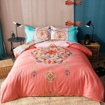 Coral Brown and Hot Pink Medallion Print Indian Pattern Noble Excellence Southwest Style 100% Cotton Full, Queen Size Bedding Sets