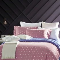 Puce Royal Blue and White Star Print Masculine Style Simple Shabby Chic Egyptian Cotton Full, Queen Size Bedding Sets