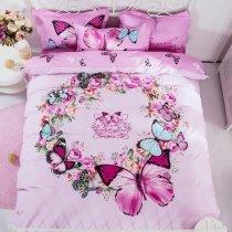 Elegant Girls Red-violet Light Blue and Black Beautiful Butterfly Print Feminine Feel Reversible 100% Cotton Full Size Bedding Sets