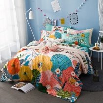 Bright Colorful Hawaiian Flower Print Garden Images Cute Style Reversible 100% Cotton Twin, Full Size Bedding Sets