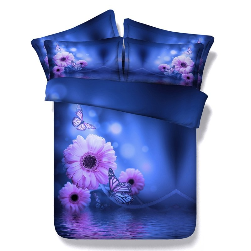Elegant Girls Navy Blue and Lavender Butterfly in Daisy Flowers 3D Design Microfiber Fabric Twin, Full, Queen, King Size Bedding Sets