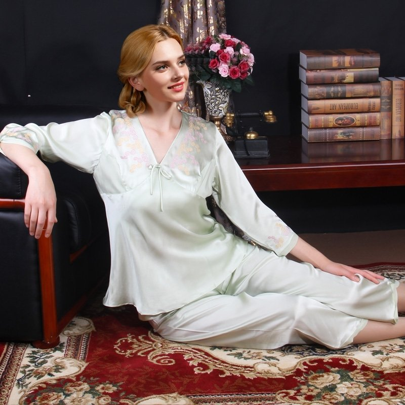 Laurel Green 100% Mulberry Silk Scroll Embroidered 3/4 Length Shirt Cropped Trousers Homewear Luxury Girls Pajamas M L XL