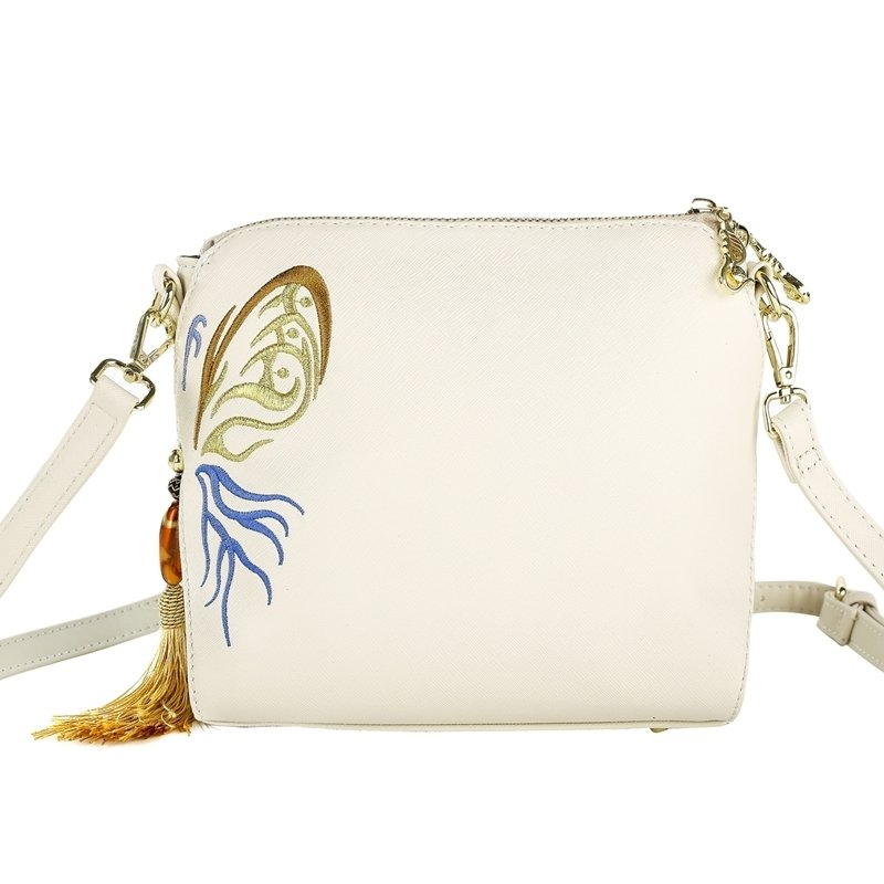 Bohemian Ivory White Faux Leather Tassel Vintage Unusual Embroidered Folklore Women Small Casual Shell Crossbody Shoulder Satchel Bag