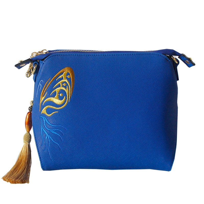 Vintage Sapphire Blue Patent Leather Fringe Personalized Embroidered Ethnic Bohemian Women Small Casual Shell Crossbody Shoulder Bag