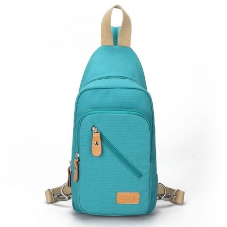 Durable Teal Canvas with Orange Leather Crossbody Shoulder Chest Bag Hipster Sewing Pattern Girls Small Casual Travel Sling Backpack