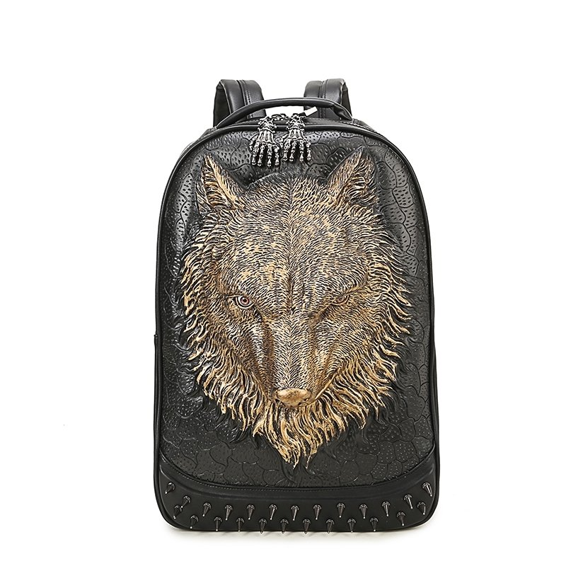 Personalized Black Leather Embossed Metallic Gold Wolf Large Travel Backpack Punk Rock and Roll Spike Rivet Studded Boys School Book Bag