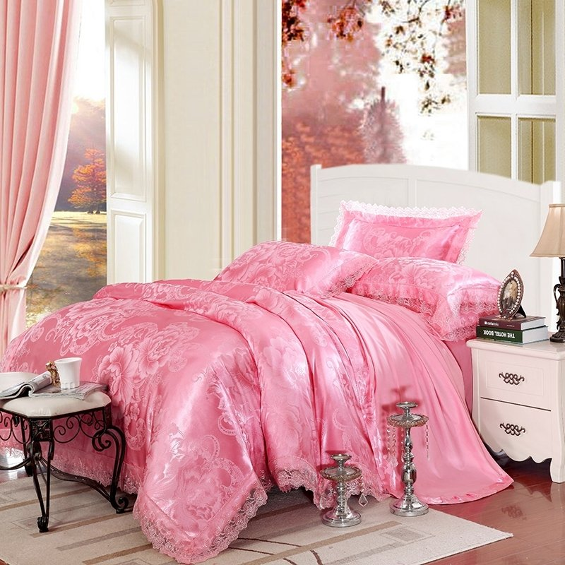 Hot Pink Sparkly Flower and Paisley Pattern Elegant Girls Luxurious Jacquard Satin Full, Queen Size Bedding Sets