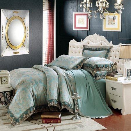 Cadet Blue and Grey Palmette Pattern Abstract Design Sexy Lace Design Old Fashion Sequin Jacquard Satin Full, Queen Size Bedding Sets