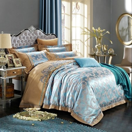 Steel Blue and Camel Scroll Pattern Shabby Chic Sparkle Abstract Design Upscale Jacquard Satin Fabric Full, Queen Size Bedding Sets