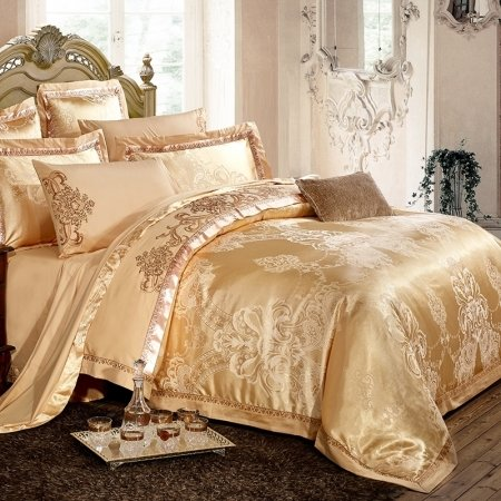 Classic Royal Gold Paisley Pattern Indian Inspired Luxury Embroidered Design Jacquard Satin Fabric Full, Queen Size Bedding Sets