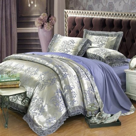 Silver And Sapphire Blue Rococo Pattern Classic Style