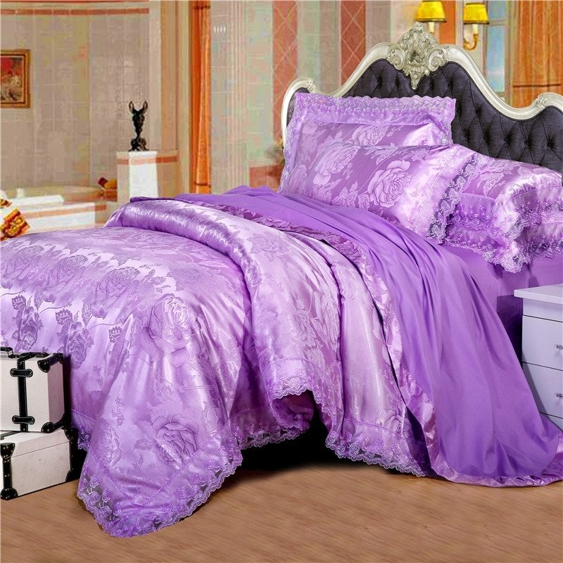 Violet Antique Rose Pattern Victorian Lace Design Sparkle Fabric Jacquard Satin Full, Queen Size Bedding Sets