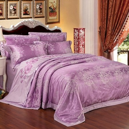 Dusty Purple Rustic Flower Elegant Girls Country Chic Embroidered Design Jacquard Satin Full, Queen Size Bedding Sets