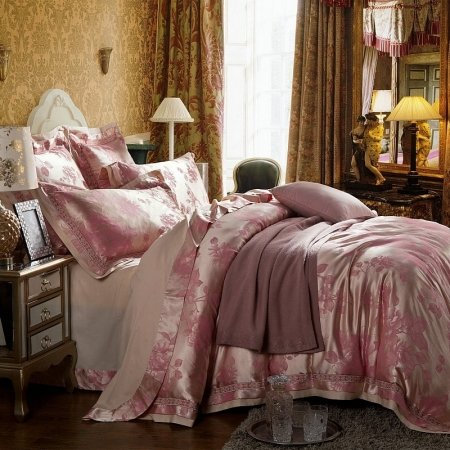 Pale Pink and Champagne Gold Asian Inspired Peony Floral Pattern Vintage Shabby Chic Jacquard Satin Full, Queen Size Bedding Sets