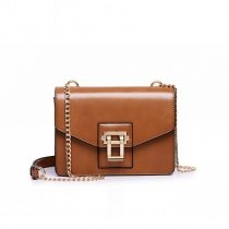Upscale Rust Brown Distressed Leather Vintage Lock Closure Sewing Pattern Chain Women Small Flap Box-shaped Crossbody Shoulder Bag
