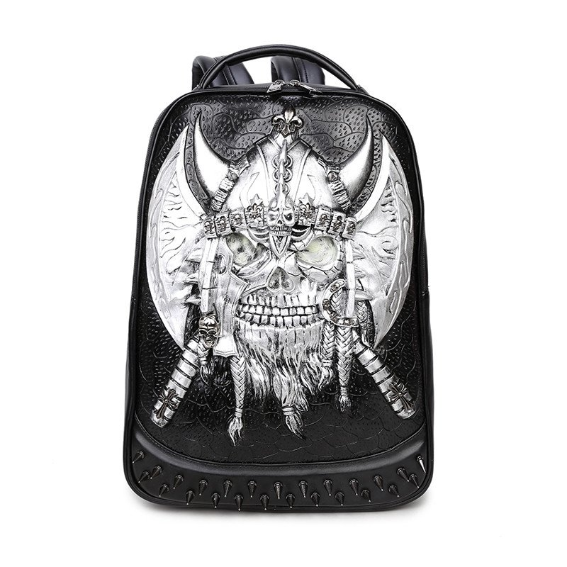 Black Leather Embossed Metallic Silver Pirate Skull Boys School Book Bag Punk Rock and Roll Style Spike Rivet Studded Travel Backpack