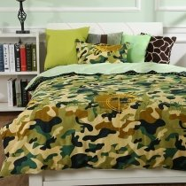 Gorgeous Dark Blue Teal  Beige Brown and Army Green Military Camouflage Print Shabby Chic Durable 100% Cotton Twin Size Bedding Sets
