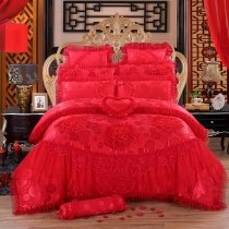 Noble Excellence Red Victorian Heart Vintage Lace Ruffle Romantic Elegant Feminine Luxury Jacquard Cotton Full, Queen Size Bedding Sets
