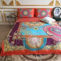 Bright Colorful Bohemian Style Medallion Print Indian Pattern Sophisticated Elegant Luxury Egyptian Cotton Full, Queen Size Bedding Sets