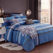 Royal Blue Red Black and White Tartan Plaid Print Sophisticated Elegant Shabby Chic 100% Brushed Cotton Full, Queen Size Bedding Sets