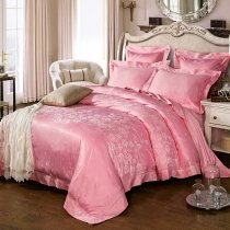 Fancy and Vogue Hot Pink Beautiful Floral Pattern Romantic Elegant Girls Luxury Jacquard Satin Full, Queen Size Bedding Sets