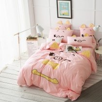 Girls Soft Pink Yellow and Black Pretty Pig Print Cartoon Themed Cute Funny 100% Cotton Twin, Full Size Bedding Sets