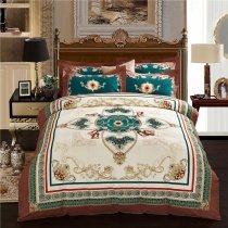 Teal Brown Gold and Beige Gothic Victorian Pattern Indian Bohemian Chic Royal Style 100% Brushed Cotton Full, Queen Size Bedding Sets