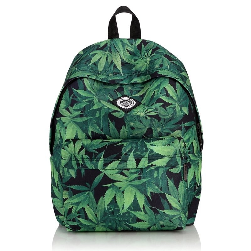 Sturdy Hunter Green and Black Oxford Kids Preppy School Backpack Hipster Hemp Fimble Leaf Print Anti Theft Pupil Campus Book Bag