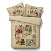 Beige Red Green and Blue Painting Flower and Bird Print Patchwork Vintage Shabby Chic Twin, Full, Queen, King Size Bedding Sets