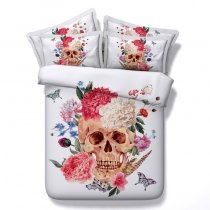 Punk Style White Red and Coral Skull and Flower Print Twin, Full, Queen, King Size Bedding Sets for Teens