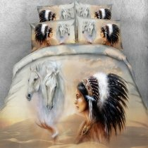 Fancy Black Brown and Gray Indian Character and Horse Print Wild Style Shabby Chic Twin, Full, Queen, King Size Bedding Sets