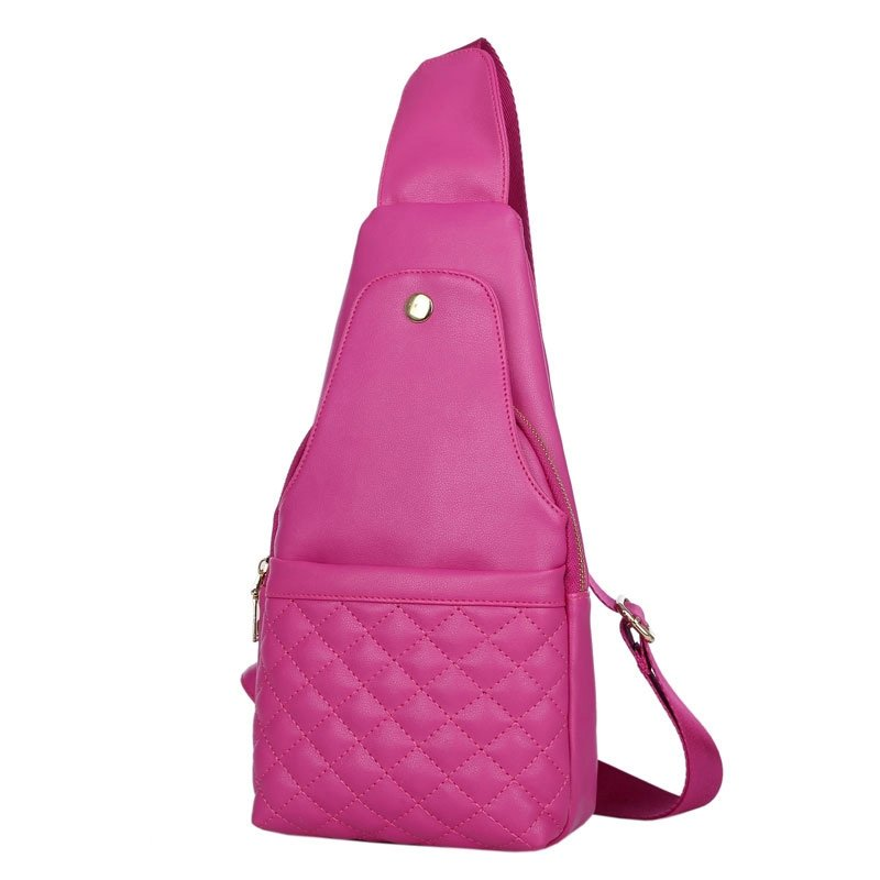 Hot Pink Faux Leather Quilted Girls Crossbody Shoulder Chest Bag Sturdy Sewing Pattern Zipper Travel Hiking Cycling Sling Backpack
