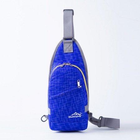 Waterproof Sapphire Blue Nylon Men Small Crossbody Shoulder Chest Bag Unique Grid Plaid Print Travel Hiking Cycling Sling Backpack