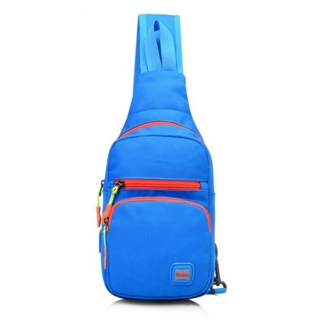Blue Nylon with Orange Trim Girls Small Crossbody Shoulder Chest Bag Korean Style Sewing Pattern Casual Travel Hiking Sling Backpack