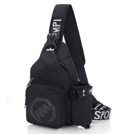 Black and White Canvas Masculine Men Crossbody Shoulder Chest Bag Trend Monogrammed Anti Theft Sewing Pattern Small Sling Backpack