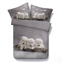 Pretty White and Grey Dog Print Cute Funny Style Twin, Full, Queen, King Size Bedding Sets
