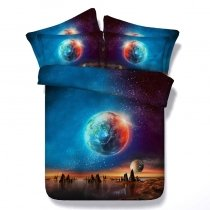 Boutique Royal Blue and Brown Planet Print Beautiful 3D Design Glitter Twin, Full, Queen, King Size Bedding Sets