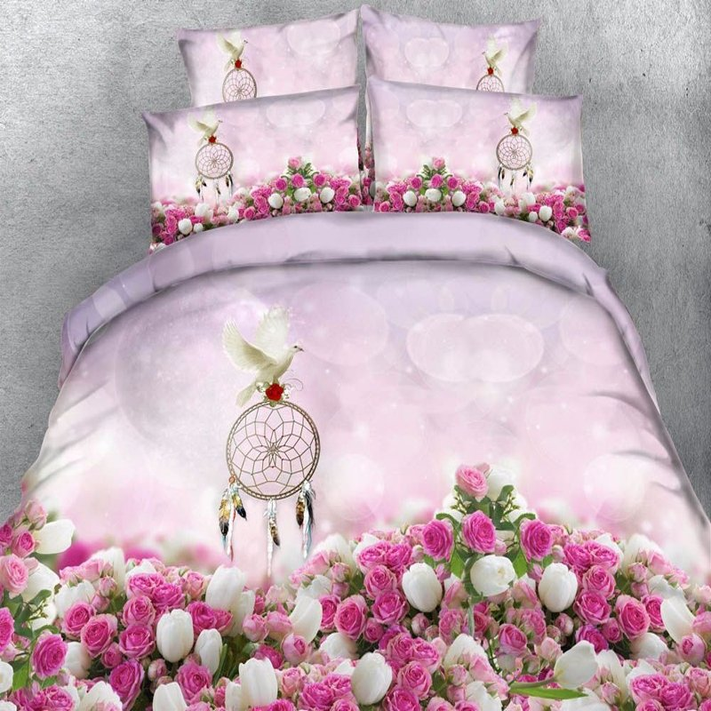 Pastel Hot Pink White Lavender and Emerald Green 3D Dove Antique Rose Print Romantic Elegant Girls Twin, Full, Queen, King Size Bedding Sets