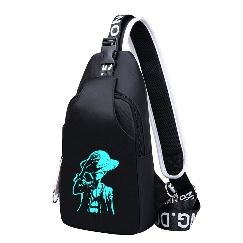 Punk Black Oxford Masculine Small Crossbody Shoulder Chest Bag Personalized Boy Print Anti Theft Casual Travel Hiking Sling Backpack