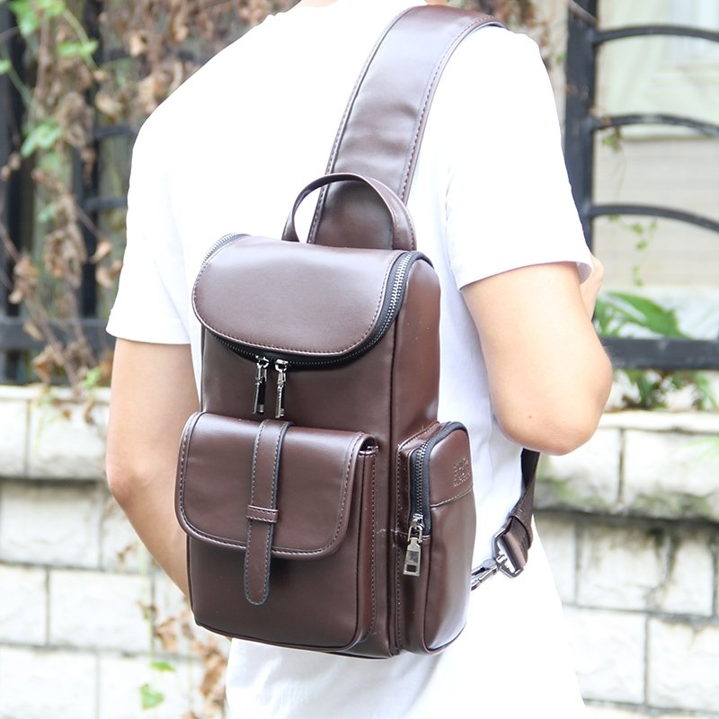 Chocolate Brown Distressed Patent Leather Men Crossbody Shoulder Chest Bag Vintage Sewing Pattern Casual Travel Flap Sling Backpack