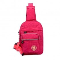 Magenta Red Waxed Canvas Women Small Crossbody Shoulder Chest Bag Trend Sewing Pattern Keychain Travel Hiking Cycling Sling Backpack