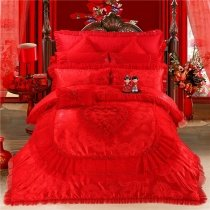 Sequin Red Embroidered Rose Heart Vintage Shabby Chic Victorian Lace Ruffle Wedding Luxury Jacquard Satin Full, Queen Size Bedding Sets