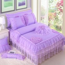 Purple Lace Design Polka Dot Print Ruffle Sophisticated Elegant Modern Chic Full, Queen Size Bedding Sets