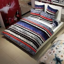 Black White Red and Navy Blue Leopard and Zebra Stripe Print Full, Queen Size Bedding Sets