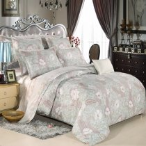 Alice Blue Gray and White Paisley and Floral Print Shabby Country Chic Western Style Full, Queen Size Bedding Sets