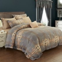 Brown and Gold Indian Pattern Geometric Pattern Retro Bohemian Style Shabby Chic Old Fashion Full, Queen Size Bedding Sets