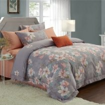 Gray Green Pink and White Tree Branch and Flower Print Shabby Chic Old World Full, Queen Size Bedding Sets